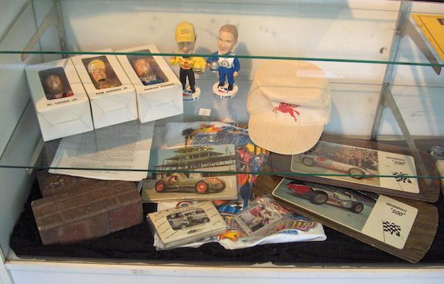 An assortment of Indianapolis memorabilia including three original bricks,