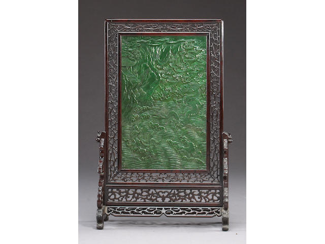 A pair of 'spinach' jade and wood table screens