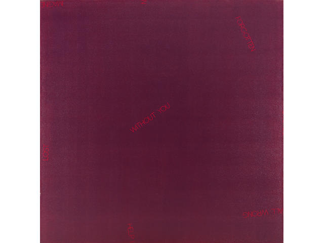 Robert Barry (American b. 1936) Untitled (deep purple), 1988 70 x 70in (178 x 178cm)