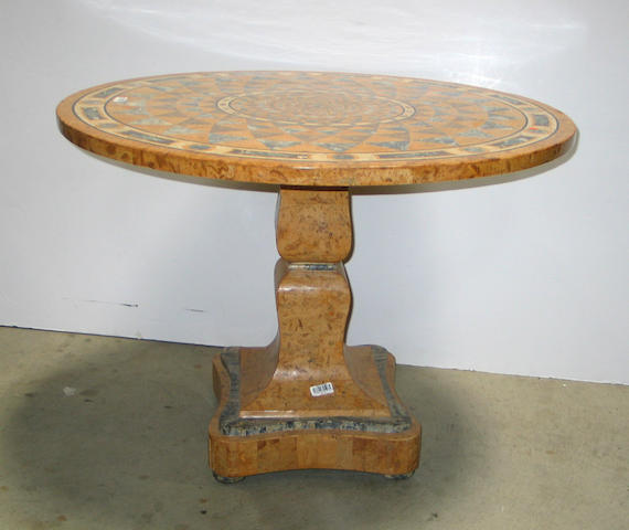 A Neoclassical style specimen marble and stone center table
