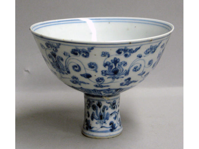 A blue and white porcelain stem cup Ming Dynasty
