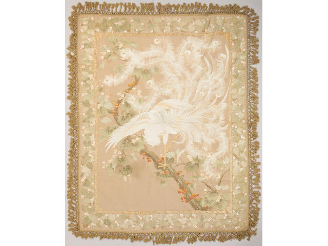 An elaborately embroidered silk panel Meiji Period