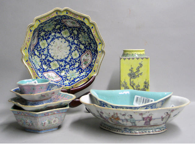 Fifteen polychrome enameled porcelains