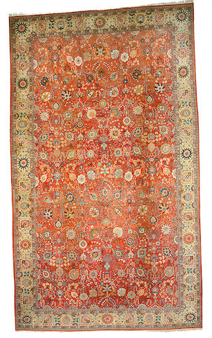 A Tabriz carpet Northwest Persia, Size approximately 27ft 2in x 16ft