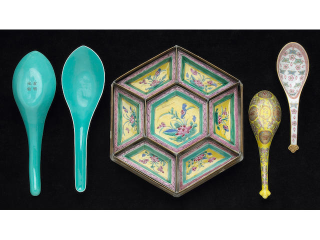 A group of polychrome enameled porcelains Circa 1900 and Later