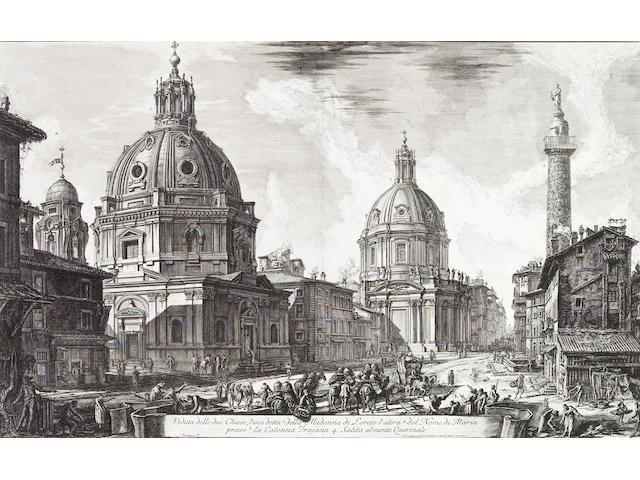 Giovanni Battista Piranesi; Veduta delle due Chiese, l'una detta della Madonna di Loreto l'altra del Nome di Maria..., from Vedute di Roma;