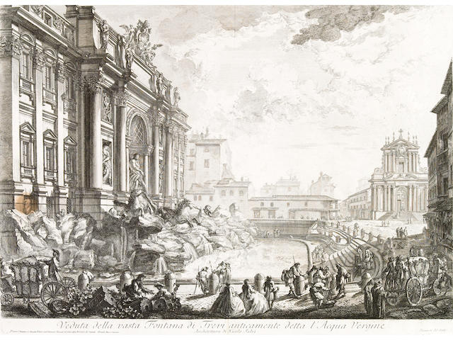 Giovanni Battista Piranesi; Veduta della vasta Fontana di Trevi anticamente detta l'Acqua Vergine, from Vedute di Roma;