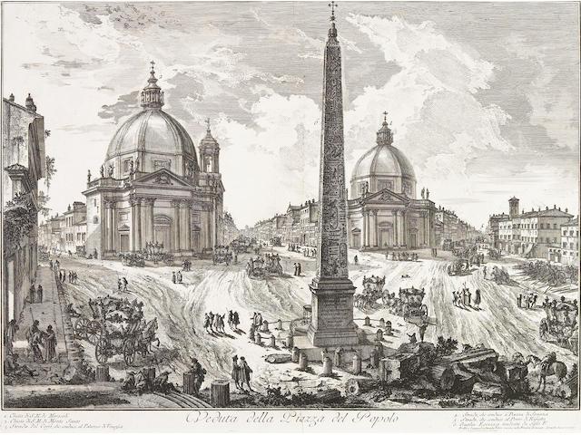 Giovanni Battista Piranesi; Veduta della Piazza del Popolo, from Vedute di Roma;