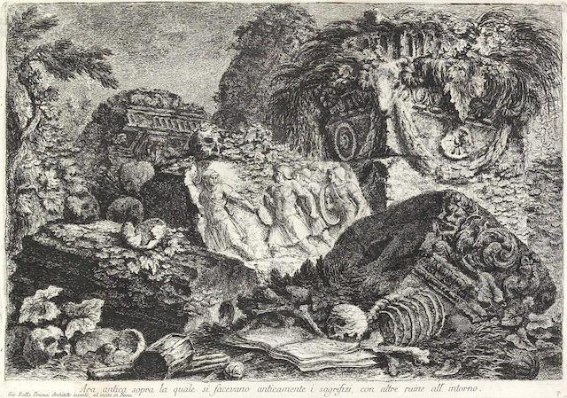 Giovanni Battista Piranesi; Ara antica sopra la quale si facevano anticamente i sagrifizi, con altre ruine all' intorno, from Prima Parte di Architetture e Prospettive;