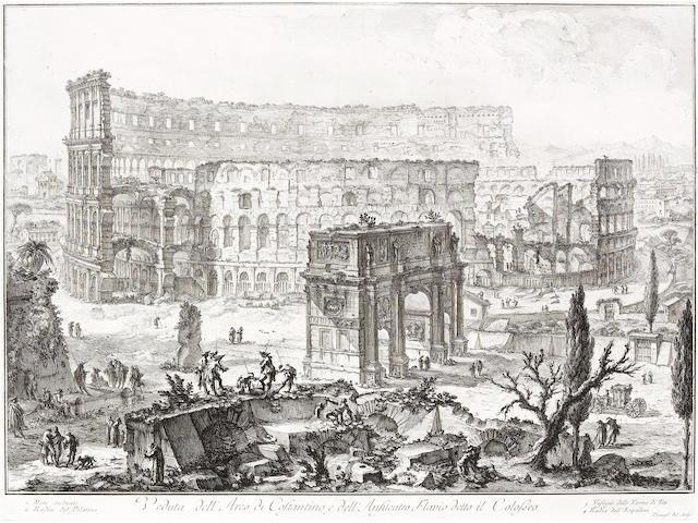 Giovanni Battista Piranesi; Veduta dell' Arco di Costantino, e dell' Anfiteatro Flavio detto il Colosseo, from Vedute di Roma;