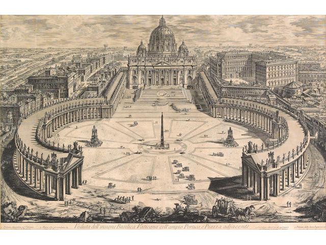 Giovanni Battista Piranesi; Veduta dell' insigne Basilica Vaticana coll' ampio Portico, e Piazza adjacente, from Vedute di Roma;