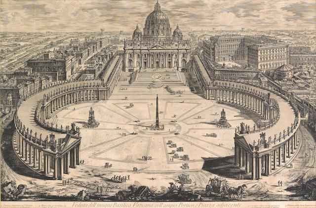 Giovanni Battista Piranesi; Veduta dell'insigne Basilica Vaticana coll'ampio Portico, e Piazza adjacente, from Vedute di Roma;