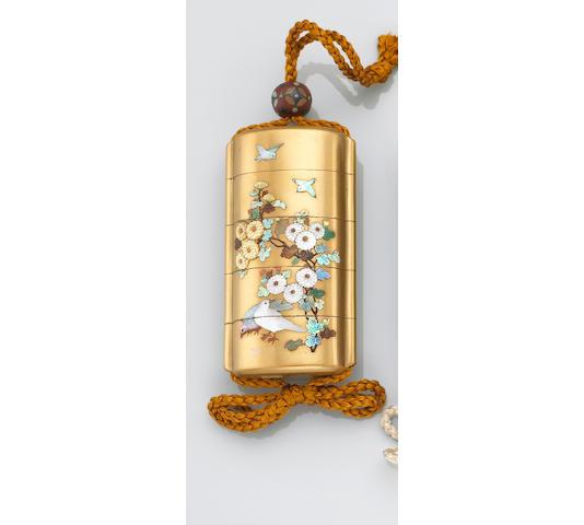 A good Shibayama inlay decorated four-case inro 19th Century