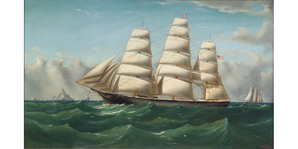 William Alexander Coulter (American 1849-1936) The clipper ship 'Three Brothers', 1873 30¼ x 50¼in (76.8 x 127.8cm)