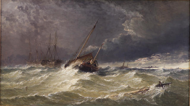 "Arthur Joseph Meadows, ""Storm at Sea, Fishing Boats, Lightning"", o/c 24 x 40 inches"