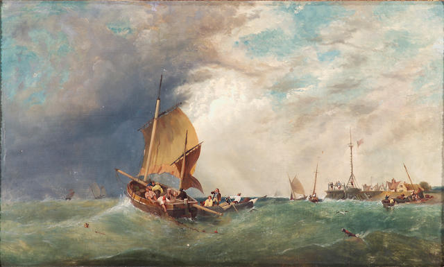 "Attributed to James Meadows, ""Shipping Off Shore"", o/c 20 x 49 inches"