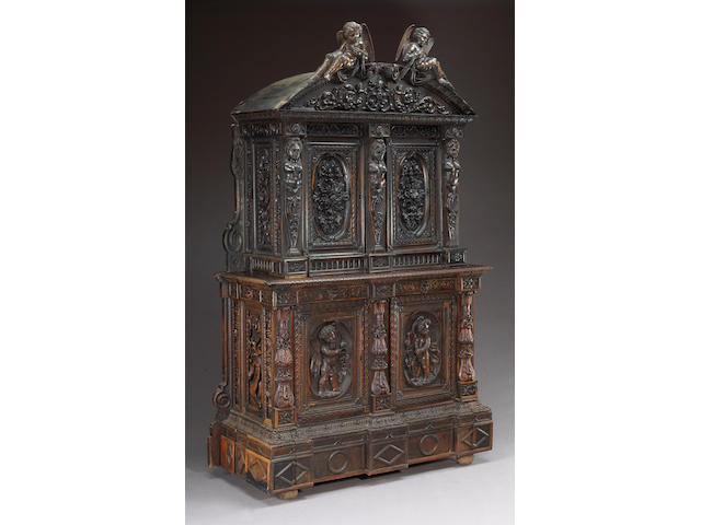 A Renaissance style stained hardwood side cabinet