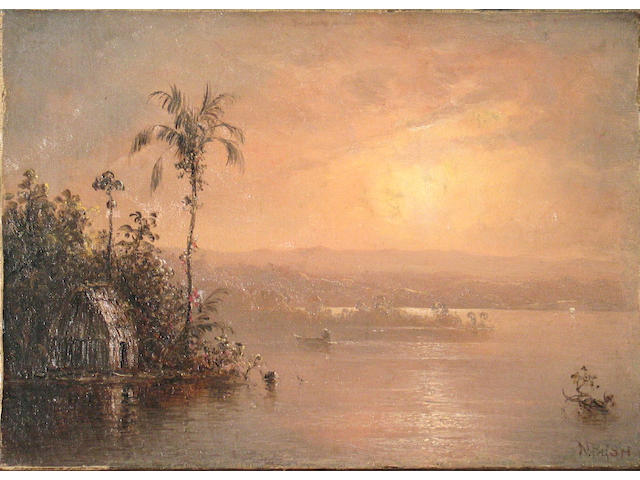 Norton Bush (American 1834-1894) A tropical landscape with a hut by a river 10 x 14in unframed