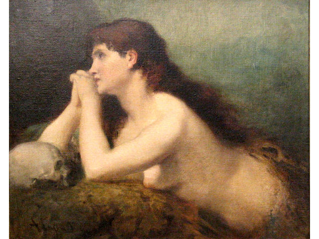 François Nicolas Augustin Feyen-Perrin (French 1826-1888) Mary Magdalene in meditation 23 1/2 x 29in