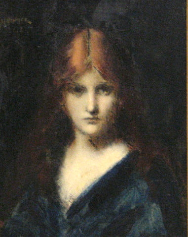 Jean Jacques Henner, Portrait of a girl. o/c.