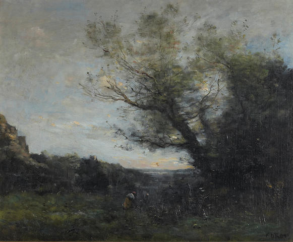 Jean-Baptiste-Camille Corot (French 1796-1875) Figure in a wooded landscape 18 x 22in (45.7 x 55.9cm
