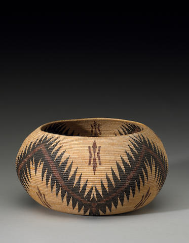 A Paiute polychrome basket, Lucy Telles