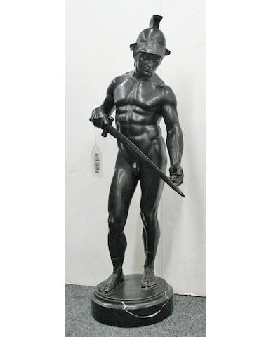 A patinated bronze figure of a gladiator