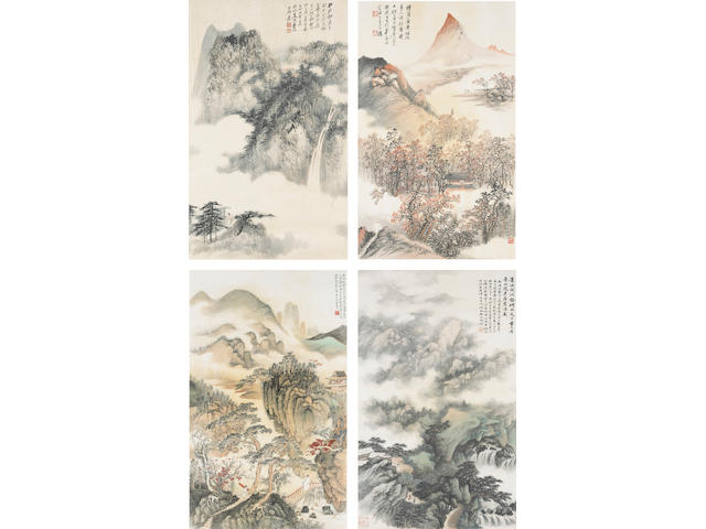 Zhang Daqian (1899-1983), Wu Hufan (1894-1968), He Tianjian and Cheng Wuchang: a set of four landsca