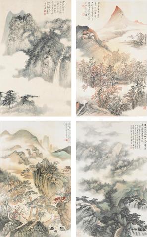 Zhang Daqian (1899-1983), Wu Hufan (1894-1968), He Tianjian and Cheng Wuchang: a set of four landsca