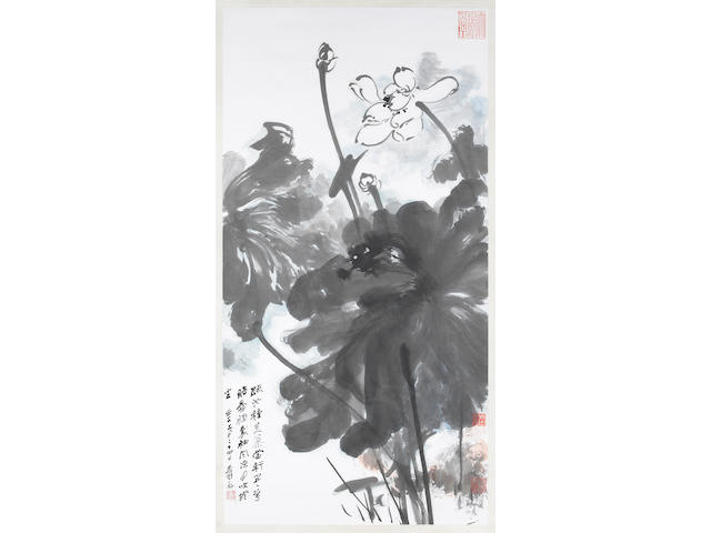 Zhang Daqian (1899-1983): Lotus, hanging scroll, provenance: grandfather got from artist