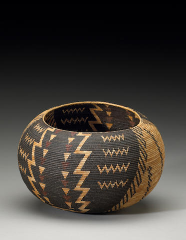 A Paiute polychrome basket, Tina Charlie, 1926