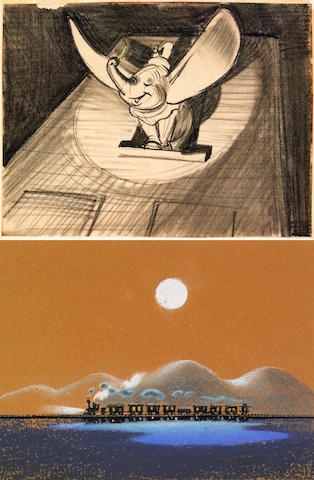"Two original Walt Disney sketches from ""Dumbo"""