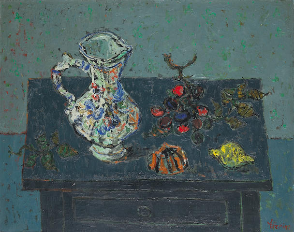 Paul Aizpiri (French, b. 1919) Still Life with Pitcher and Fruit 28 3/4 x 36in (73 x 92cm)