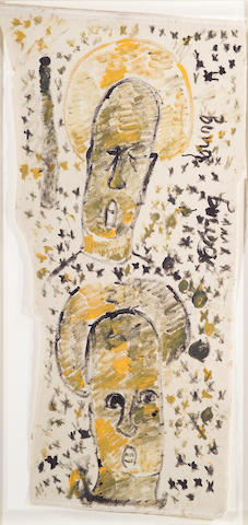 Purvis Young (American, b.1943) Untitled (2 heads), mixed media on cloth