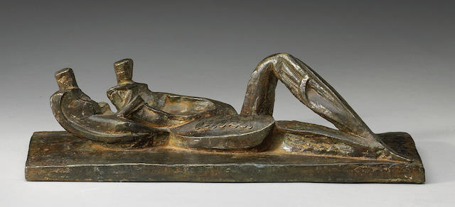 Naum Knop (Argentinian, 1917-1993) Pareja Reclinada, c.1970 4 x 14 x 6in (10 x 36 x 15cm)