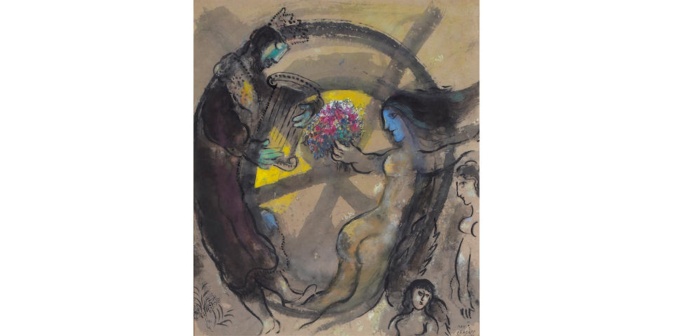MARC CHAGALL, SAUL HOLDING THE TORAH AND WOMAN WITH BOUQUET OF FLOWERS, WATERCOLOR