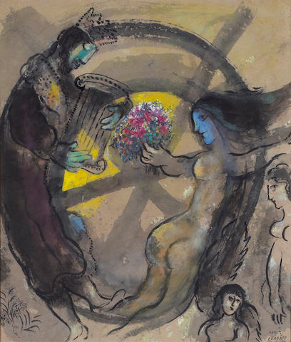 Marc Chagall (Russian/French 1887-1985) King David and Nude with Blue Face, 1964 28 x 24¼in (71½ x 61½cm)