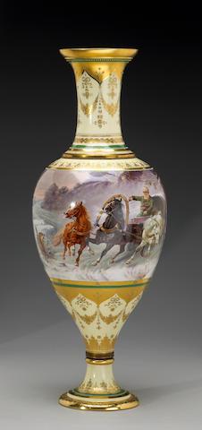 A large Vienna procelain urn signed Kowalski