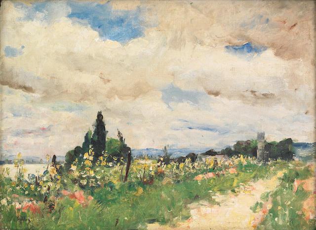 Lesser Ury  (German, 1861-1931) Uferweg am Rhein, ca. 1924 14 3/4 x 20 1/4in (38 x 51cm)