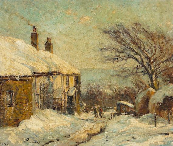 Herbert F. Royle (British 1870-1958) Winter in Nessfield in Wharfedale 20 x 24in (51 x 61cm)