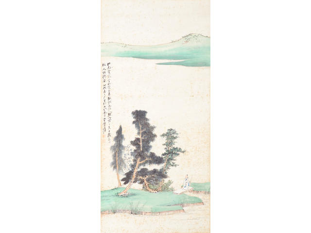 Zhang Daqian (Chang Dai-chien, 1899-1983): Scholar in blue and green landscape, unmounted