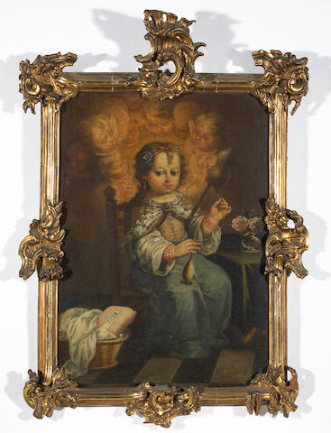 Spanish School (early 18th century) The young Mary with a distaff and spindle; also a painting of the Christ Child (a pair) 31 x 22in (78.7 x 55.9cm)