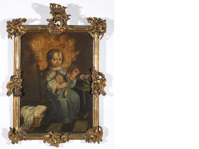 Spanish School (early 18th century)  Mary with distaff and spindle; The child Jesus (a pair) 31 x 22in (78.7 x 55.9cm)