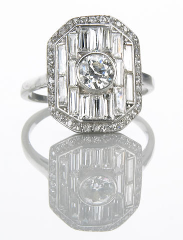 A diamond and platinum ring, Art Deco signed LaCloche Fres