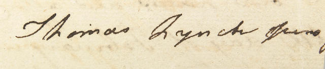 Clipped signature of Thomas Lynch