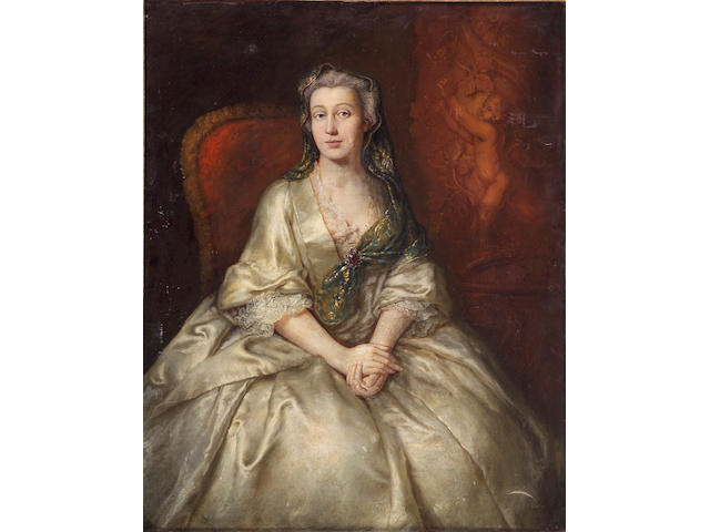 Studio of Allan Ramsay (Scottish 1713-1784) A portrait of a lady, three-quarter-length, seated, in a white dress 50 x 40in