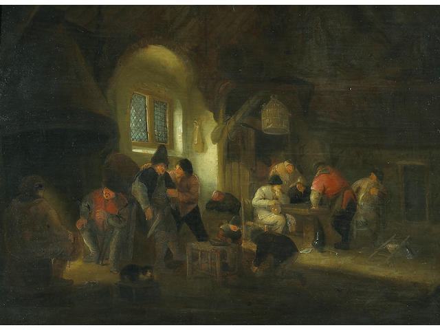 Circle of Adriaen Jansz van Ostade (Dutch 1610-1685) Carousing peasants in a tavern 18 3/4 x 25 1/4in (47.6 x 64.1cm)