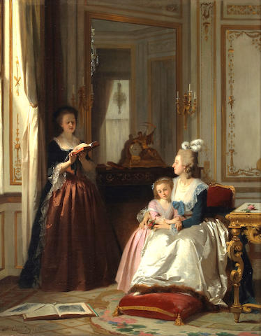 Joseph Caraud (French 1821-1905) Madame de Lamballe reading to Marie Antoinette and her daughter, Marie Thérèse Charlotte 34 1/2 x 27in (87.6 x 68.6cm)