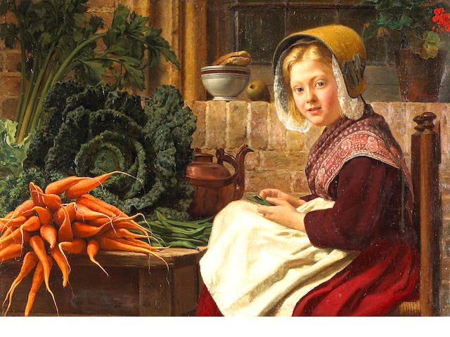 Belgian School (19th century) Preparing a meal 27 x 38in (68.6 x 96.5cm)