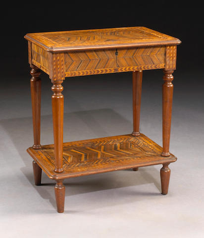 An Italian parquetry inlaid sewing table